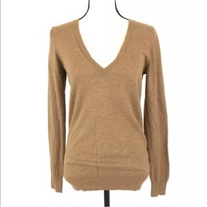 THE LIMITED Womens Brown Wool Blend V-Neck Sweater
